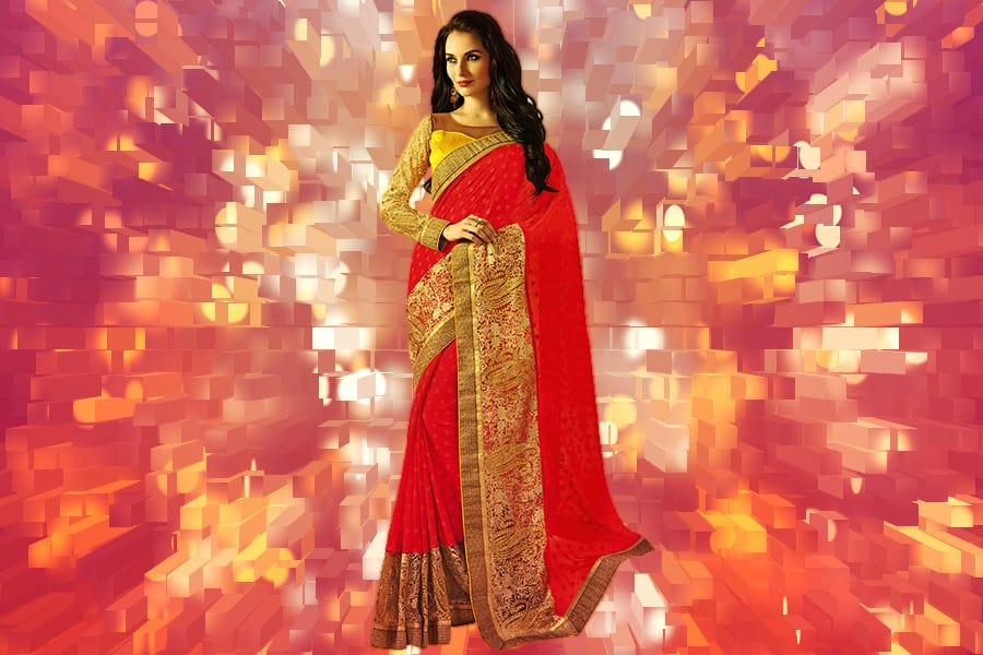3d9bc635fb Brides from all over India favor wearing a red embellished saree or a plain  red bridal saree. Likewise the brides from Kerala also favor this type of  saree ...