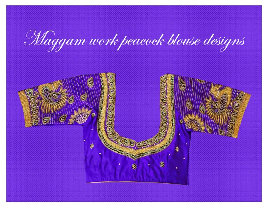 aa69e1a83ab1f2 Peacock designs are the ideal ones among the blouse back neck maggam work  designs. It comes under the simple designs associated with maggam work.